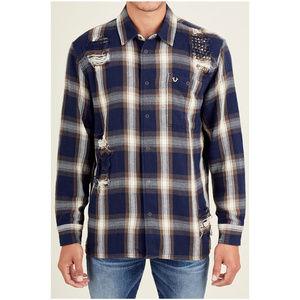 True Religion Men's Long Sleeve Plaid Shirt